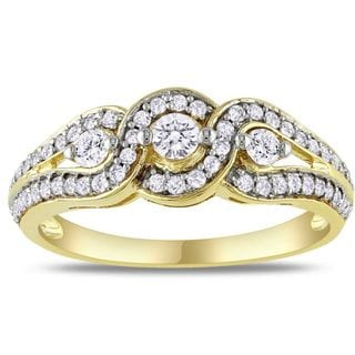 Miadora 14k Yellow Gold 1/2ct TDW Diamond Engagement Ring (G-H, I2-I3)