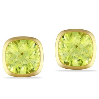 Miadora Yellow-plated Silver Lemon Quartz Earrings