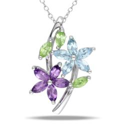 Miadora Sterling Silver Amethyst, Peridot and Blue Topaz Fashion Necklace