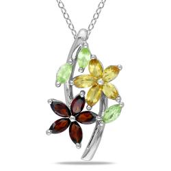 Miadora Sterling Silver Garnet, Peridot and Citrine Necklace
