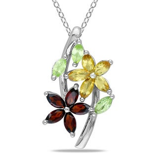 M by Miadora Sterling Silver Garnet, Peridot and Citrine Necklace