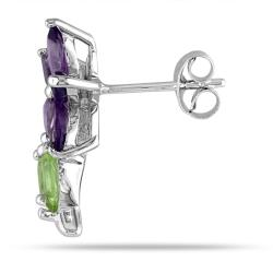 Miadora Sterling Silver Peridot and Amethyst Stud Earrings
