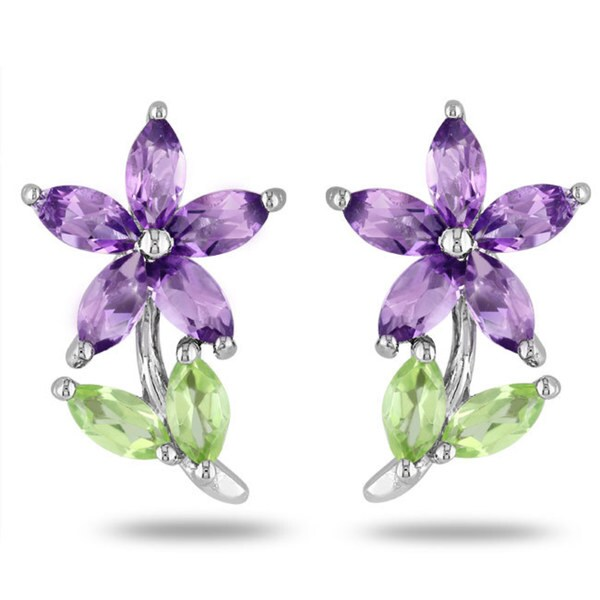 M by Miadora Sterling Silver Peridot and Amethyst Stud Earrings
