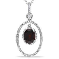 Miadora Sterling Silver Garnet and Diamond Accent Necklace (G-H)
