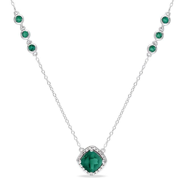 Miadora Sterling Silver Created Emerald Necklace