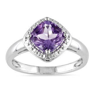 High-polished Miadora Sterling Silver Cushion Birthstone Ring