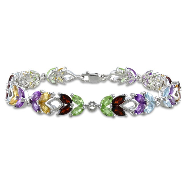 Miadora Sterling Silver Amethyst, Garnet, Peridot and Citrine Bracelet