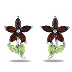 Miadora Sterling Silver Garnet and Peridot Stud Earrings