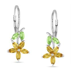 Miadora Sterling Silver Peridot and Citrine Earrings
