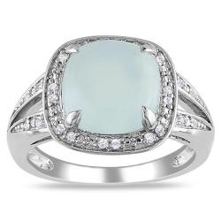 Miadora Sterling Silver Aquamarine and 1/10ct TDW Diamond Ring (G-H, I2)