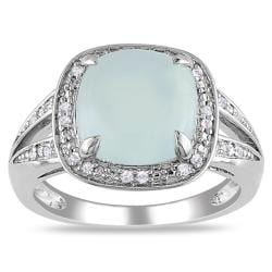 Miadora Sterling Silver Aquamarine and 1/10ct TDW Diamond Ring (G-H, I2)