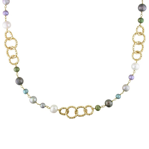 M by Miadora Goldtone Multicolored Pearl Brushed Link Necklace (6-10 mm)