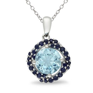 Miadora Sterling Silver Blue Topaz and Sapphire Necklace