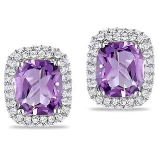 Miadora Sterling Silver Amethyst and Created White Sapphire Earrings