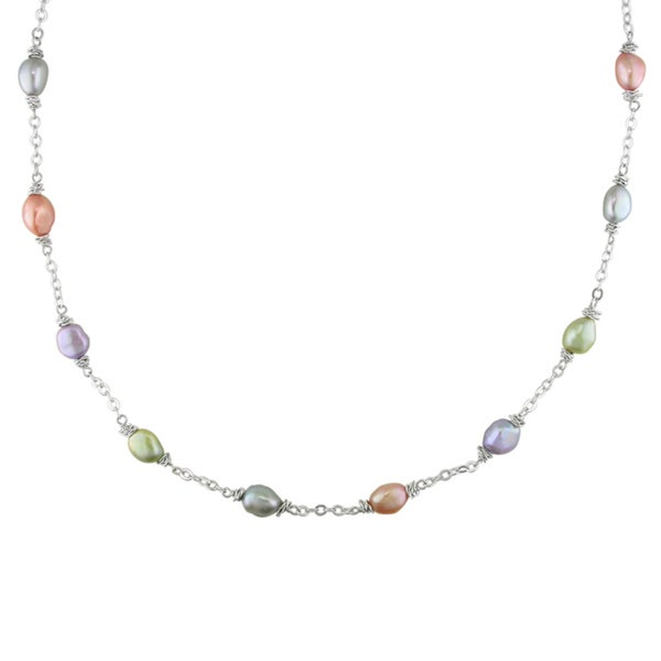 M by Miadora Silvertone Freshwater Multi-colored Pearl Chain Necklace (8-9 mm)