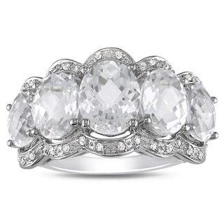 Miadora 10k White Gold White Topaz and 1/10ct TDW Diamond Ring (G-H, I2)