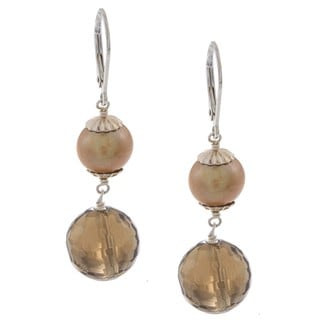 Zoe B Sterling Silver Champagne FW Pearl and Smokey Quartz Earrings