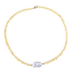 14K Gold over Sterling Silver White Freshwater Pearl Citrine Necklace (12-13 mm)