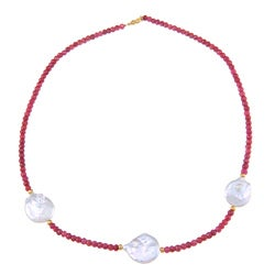 14k Gold Over Silver Red Ruby and White FW Pearl 20-inch Necklace (20-25 mm)