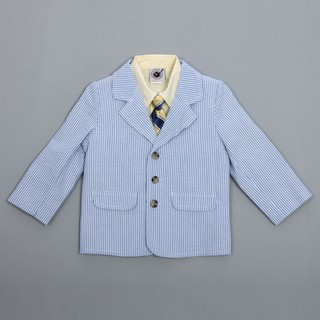 Good Lad Toddler Boy's Seersucker Suit with Yellow Shirt and Tie