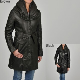 Knoles & Carter Women's Puff Collar Quilted Sleeves Belted Leather Coat
