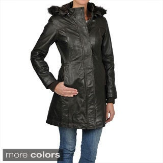 Knoles & Carter Women's 7/8-length Faux Fur Trimmed Hooded Leather Jacket
