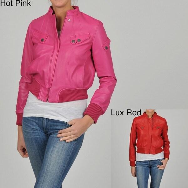 Knoles & Carter Women's Short Ax Leather Bomber Jacket