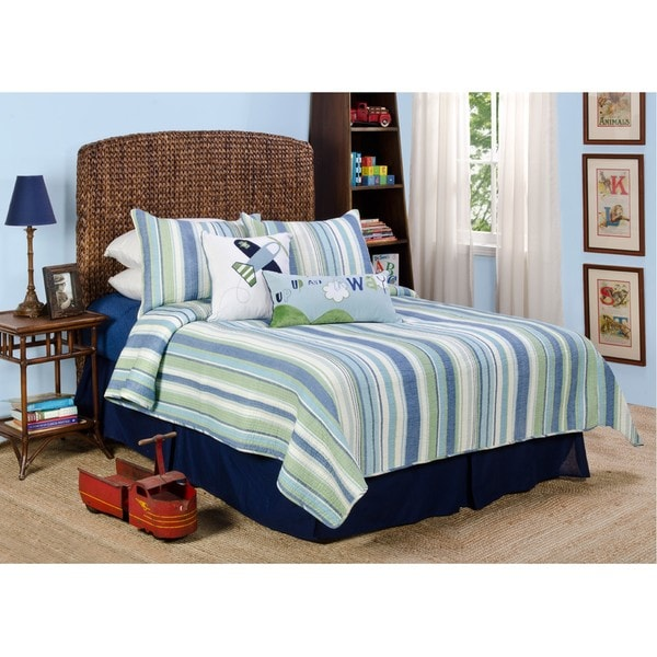 Merrill Stripe 'Up, Up and Away' Twin-size 4-piece Quilt Set