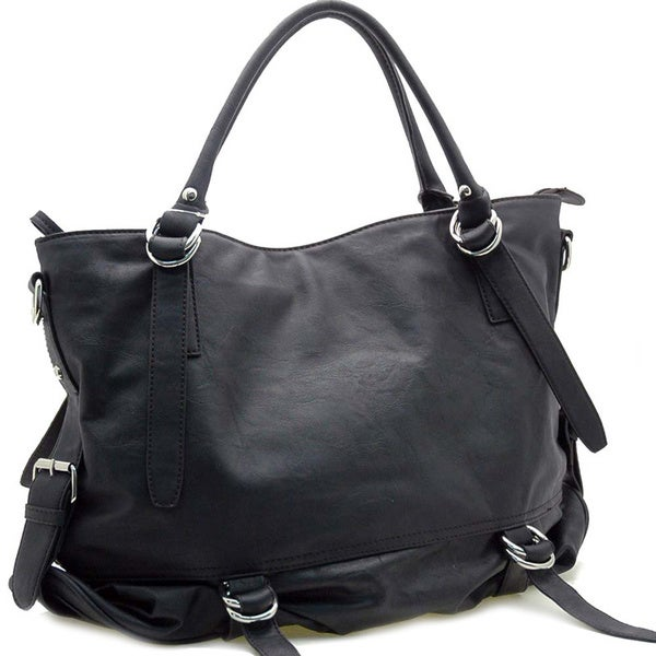 Belt Side Accented Tote Bag