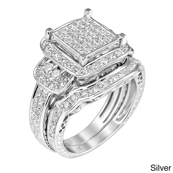 Silver Wedding Ring 10K Gold Or Sterling Silver 3 4ct TDW White Diamond Halo Ring G H I1