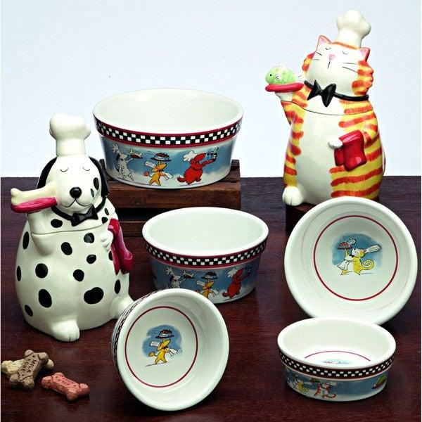 "Snoozer Large ""Bone Appetite"" Dog Bowls and Jars by Tina Ledbetter"