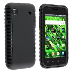 Black/Black Hybrid Case for Samsung Vibrant T959 Cell Phone