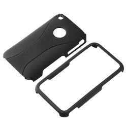 Black/ Black Cup Shape Snap-on Case for Apple iPhone 3G/ 3GS