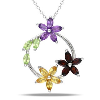 Miadora Sterling Silver Garnet, Peridot, Citrine, and Amethyst Necklace