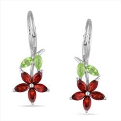 Miadora Sterling Silver 2 1/2ct TGW Garnet and Peridot Leverback Earrings