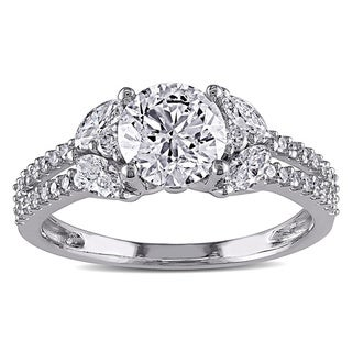 14k White Gold 1 1/2ct TDW IGL-certified Vintage Diamond Ring (G-H, I1-I2)