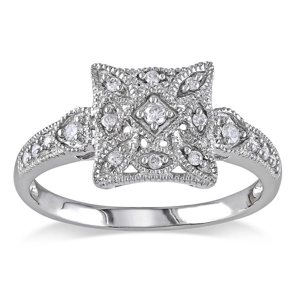 Miadora 10k White Gold 1/7ct TDW Diamond Art Deco Style Ring (G-H, I2-I3)