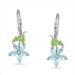 Miadora Sterling Silver 2 1/3ct TGW Blue Topaz and Peridot Leverback Earrings