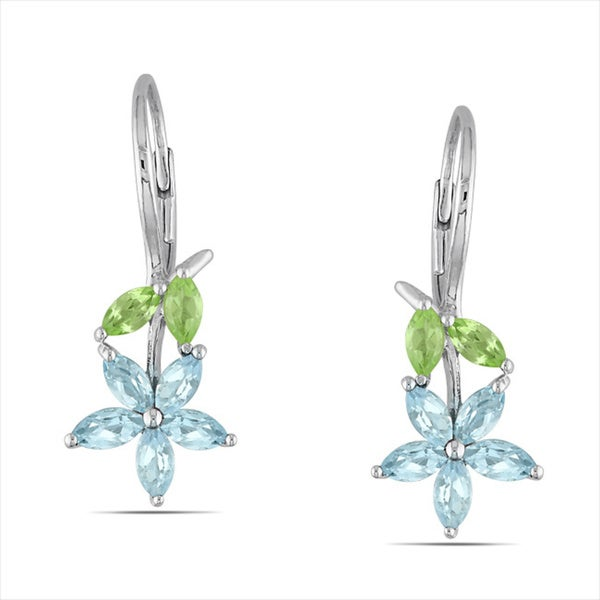 M by Miadora Sterling Silver 2 1/3ct TGW Blue Topaz and Peridot Leverback Earrings