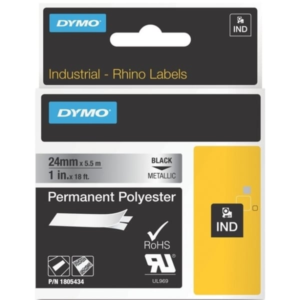 Dymo Black on Metallic ID Label