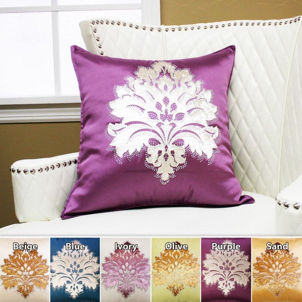 Aurora Home Damask Rhinestone Stud Poly Oxford Pillow 19 x 19 (Set of 2)