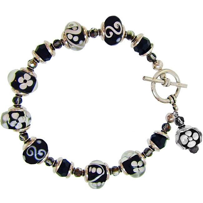 Misha Curtis Silvertone Black and White Glass Bead Bracelet