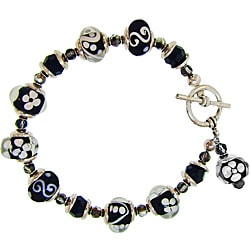 Misha Curtis Silvertone Black and White Glass Bead Bracelet