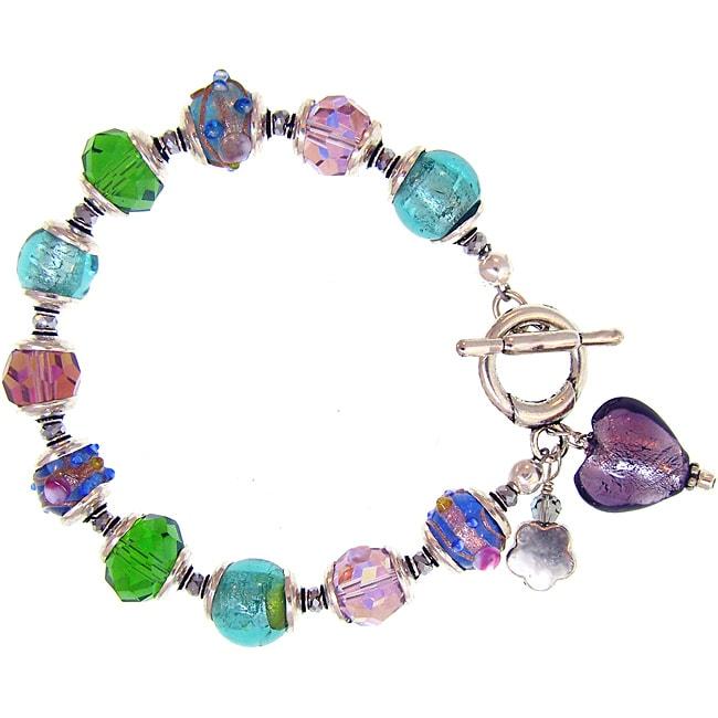 Misha Curtis Silvertone Purple Heart Charm and Glass Bead Brace