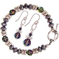 Misha Curtis Metallic Crystal Rainbow Bracelet and Earring Set