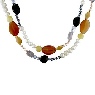 M by Miadora Freshwater Pearl and Colorful Gemstone Necklace