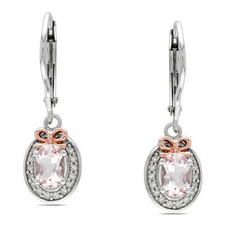 Miadora Silver and 14k Pink Gold 1ct TGW Morganite and 1/7ct TDW Diamond Earrings (G-H, I2)