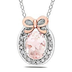 Silver and Pink Gold Morganite and Diamond Accent Necklace