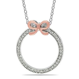 Haylee Jewels Silver and Pink Gold 1/6ct TDW Diamond Circle Necklace (G-H, I2-I3)