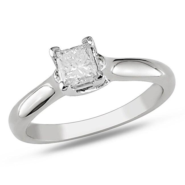 Miadora 14k White Gold 1/3 CT TDW Diamond Solitaire Engagement Ring (G-H, I1-I2)
